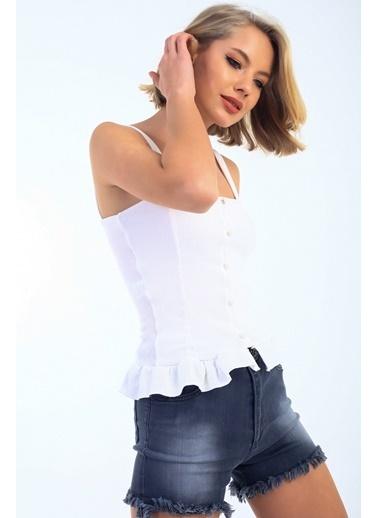 Emjey Askılı Önü Düğmeli Eteği Fırfırlı Bluz Beyaz